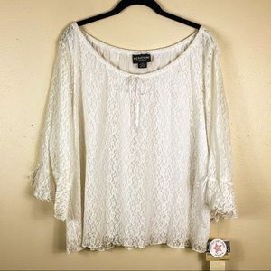 NWT Notations White Lace Peasant Blouse Sz 2X